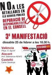 Cartell manifestació contra les retallades en serveis públics. 25/02/2012